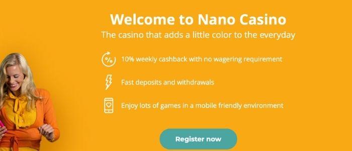 cashback bonussen Nano casino