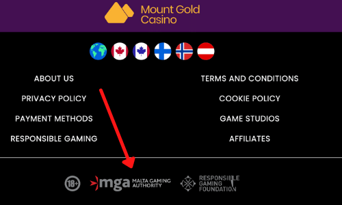 MGA License logo example from Mount Gold casino
