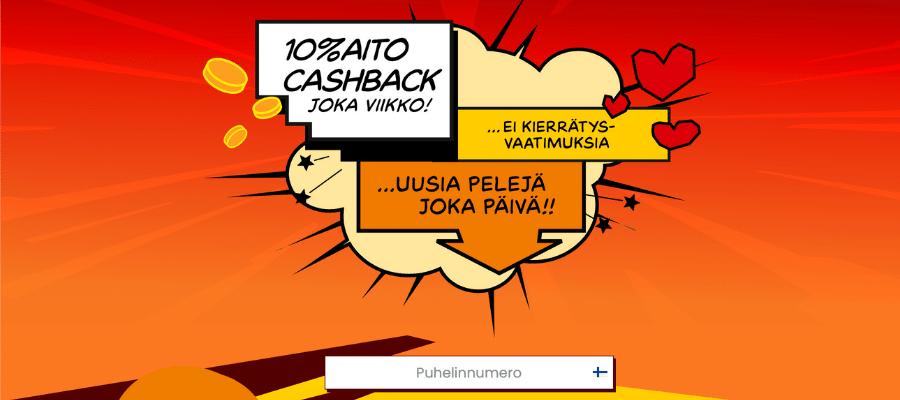 Cashback kasino ilman tiliä