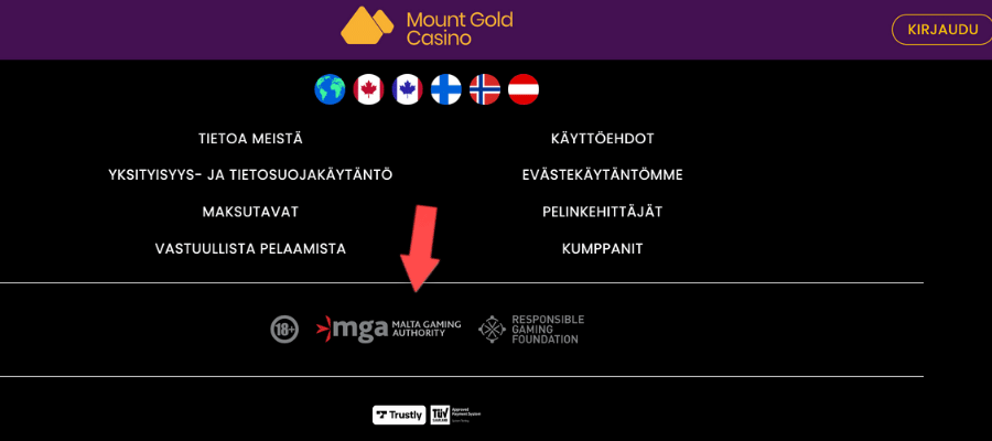 mount Gold MGA lisenssi nettikasino ilman rekisteröitymistä